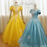 カラードレス(イエロー/ブルー)袖付き19205