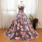 カラードレス(ブラック)花プリント19304