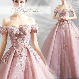 【新商品】カラードレス 5号7号9号11号13号15号 (モーヴピンク)演奏会用ドレス オフショルダー フラワーモチーフ ウエディング ロング プリンセスライン 刺繍とビーズが華やかな背中編み上げドレス 81805