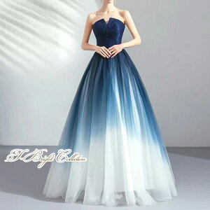 ウェディングドレス(ネイビー×ホワイト)81003