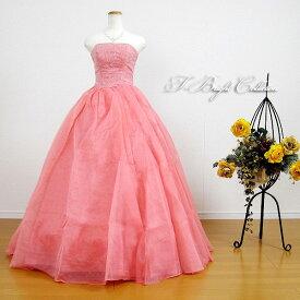 【改良しました】 カラードレス 7号9号11号 (サーモンピンク)演奏会用ドレス ウエディング ロング プリンセスライン ビスチェの刺繍が華やかな背中編み上げドレス シャーリング (mss) 27048