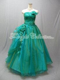 efbe2f1c6bbd5 サイズオーダー コサージュ付きふんわりオーガンジーカラードレス☆プリンセスライン☆(グリーン) 緑