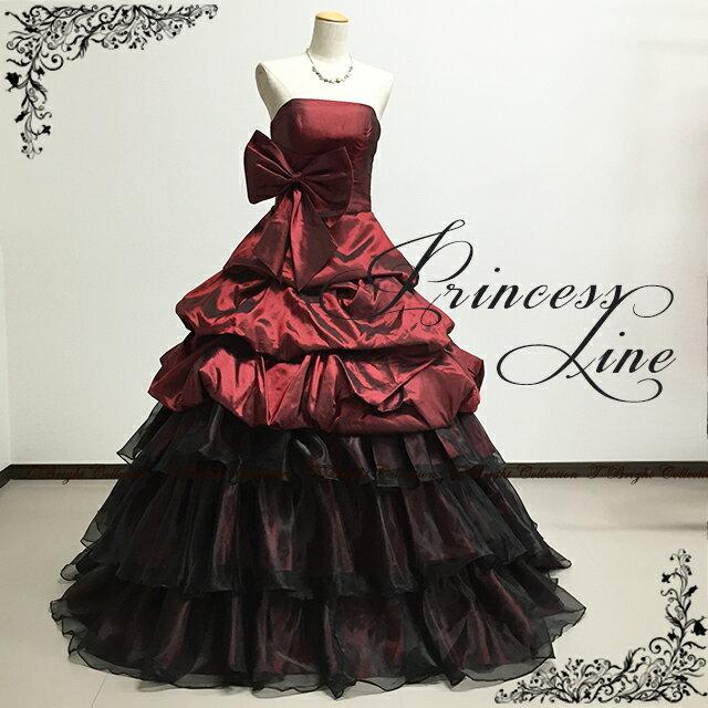 カラードレス 演奏会用ドレス ワインレッド×ブラック 5号7号9号11号13号15号 バイカラーの上品なリボンドレス 大人 シンプル 黒 赤 ピアノ 発表会 演奏会 舞台 ステージ衣装(30072)