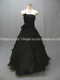サイズオーダー 背中編み上げシルクゴーズ.お花コサージュ付きひらひらドレス,Aライン(ブラック) 黒,51763【送料無料】