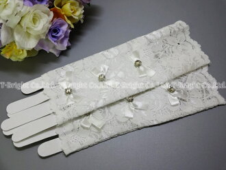 Dress glove (g268) which there is no ☆ off-white ☆ finger with short glove ☆ race ☆ flower clear beads & ribbon in