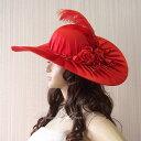 ウェディングハットサテン《レッド》赤ヘッドドレス/つば広コスチュームハット/ドレスハットお花コサージュと羽根付き帽子/中世貴族風パーティー結婚式ダンスイベント舞台衣装