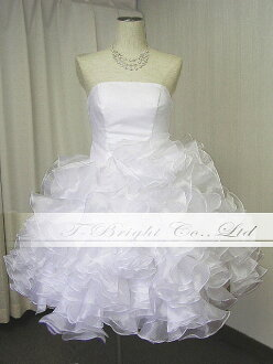 Size order organza frills are fluffy Cute ♪ 51076 back lace-up Minnie wedding dress ★ medium-length ★ white / off white / color change