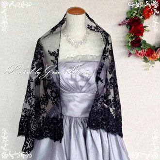 Entering party shawl pattern race << black >> shawl wedding ceremony organdy scarf stall, embroidery, four circle wedding sw080220