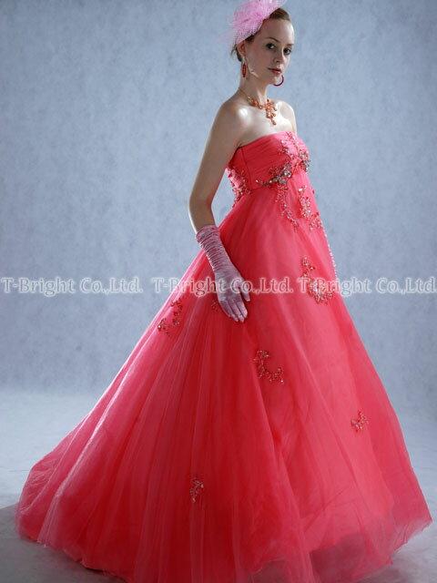 サイズオーダー カラードレス(ピンク) 5号〜25号 小さいサイズ 大きいサイズ マタニティの方も安心のエンパイアライン サイズ指定 結婚式 ロングドレス tb079【送料無料】