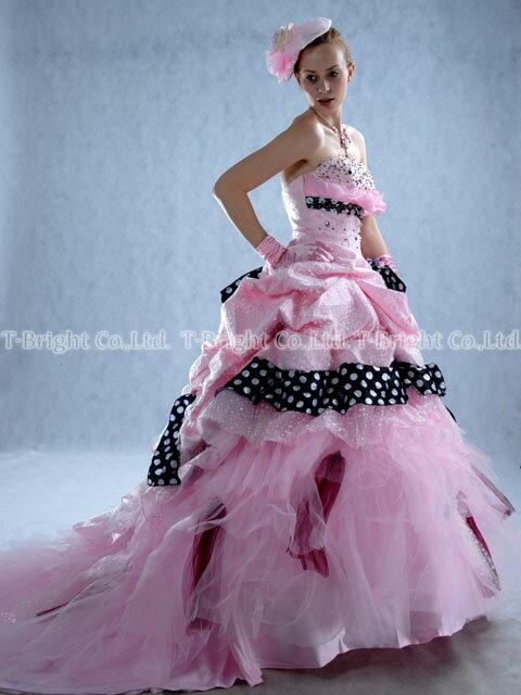 サイズオーダー カラードレス ロングトレーン プリンセスライン (ピンク×ブラック) サイズ指定 結婚式 ロングドレス tb081【送料無料】