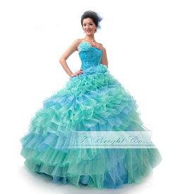 サイズオーダー フリルのCuteなミックスカラードレス プリンセスライン (ライトブルー×ミントグリーン)結婚式 披露宴 ブライダル 発表会 舞台 ピアノ 衣装 ロングドレスtb418【送料無料】