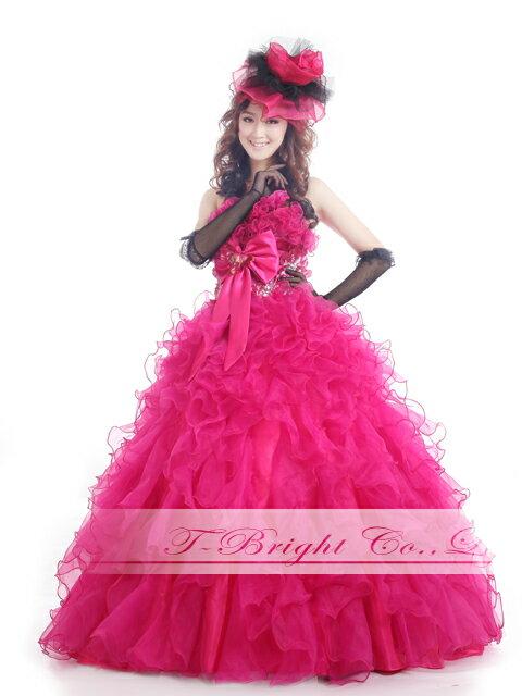 サイズオーダー カラードレス 二次会用ドレス プリンセスライン 5号〜25号(ピンク) tb497 【送料無料】