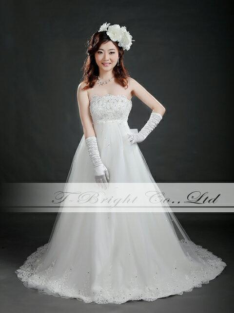 サイズオーダー ウエディングドレス 5号〜25号 オフホワイト 背中リボンの刺繍入りウェディングドレス 小さいサイズ・大きいサイズ お客様サイズにてお作りします★マタニティの方も安心エンパイアライン tb528