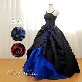 カラードレス 5号7号9号11号 (ブラック×ブルー&レッド)1人で着やすい脇ゴム&背中ファスナー ロング プリンセスライン 演奏会や発表会にもオススメ 差し色のブルー/レッドが映える優秀デザイン バイカラー シンプル コサージュ 青 黒 赤 ハロウィン 01707