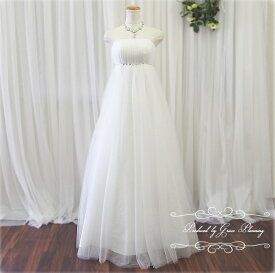 ウエディングドレス エンパイア 5号7号9号11号 オフホワイト 花嫁 結婚式 人気のエンパイアライン パールとふんわりソフトチュール 背中編上げだからマタニティの方にも安心 ロングドレス 二次会 妊婦 外国 海外挙式 51385-0