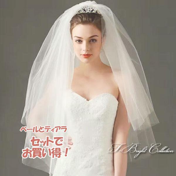 【セットでお得!】ベール(v146)とティアラ(t-205) コーム付き ウエディングドレスにピッタリ ブライダルティアラ 挙式 リゾート ヘアアクセサリー ヘッドドレス ウェディング小物 花嫁 結婚式 髪飾り ベール(t-205-v146_set)