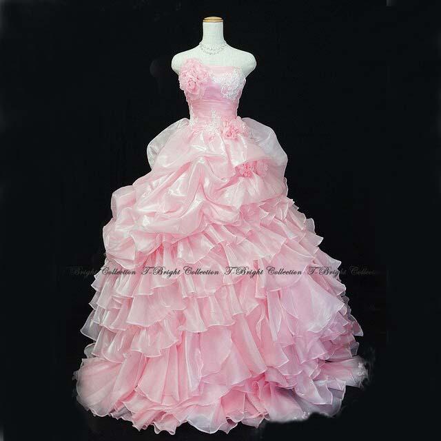 サイズオーダー カラードレス ウエディング ピンク プリンセスライン お花コサージュ付き段フリルドレス tb52190
