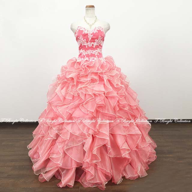 サイズオーダー カラードレス 背中編み上げ刺しゅう入り プリンセスライン (ピンク)51900 送料無料