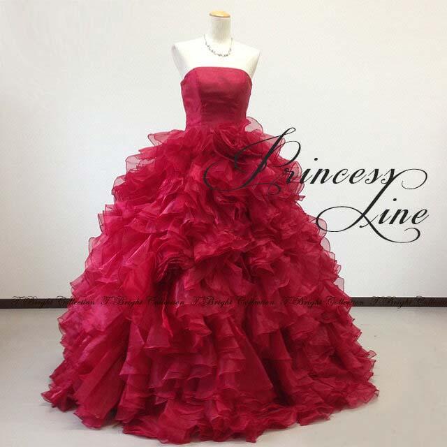 サイズオーダー カラードレス シンプル つややか光沢ドレス プリンセスライン (ワインレッド) 53064 送料無料