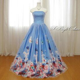 カラードレス 7号9号11号13号 (花柄・ブルー) 演奏会用ドレス ウエディング ロングドレス プリンセスライン 発表会 花柄プリントが可愛い 背中編み上げドレス ゴムシャーリング 結婚式やフォトウェディング、披露宴にも 18755