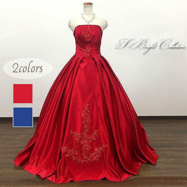 カラードレス 7号9号11号13号 全2色(ワインレッド/ネイビーブルー)プリンセスライン ウェディング 結婚式 演奏会用ドレス ロングドレス 編み上げ 艶感 刺繍 サイズ調整可 大人 シンプル 赤・紺 0302