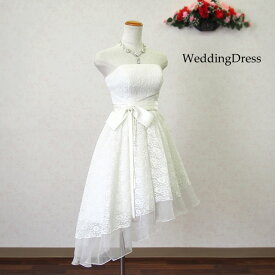 ウエディングドレス 二次会 ミニドレス 白 オフホワイト 5号7号9号11号13号 ミニ ショート丈 ミモレ丈 大人用 即納サイズあります 花嫁 刺繍 パーティードレス 結婚式 海外挙式 12442