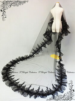 Long Maria veil 3m black (v145-3m) with the beautiful floral design embroidery