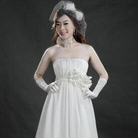 サイズオーダー ウエディングドレス 5号〜25号 オフホワイト ウエストコサージュ ふんわりギャザーのウェディングドレス 小さいサイズ・大きいサイズ お客様サイズにてお作りします マタニティの方も安心エンパイアライン tb531