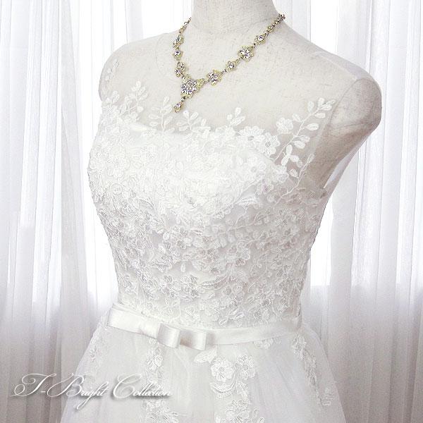 肩付きウエディングドレス 5号7号9号11号(オフホワイト) 刺繍 演奏会用ドレス ウエディング ロング プリンセスライン 発表会 花柄プリントが可愛い 背中編み上 げ 当て布 結婚式やフォトウェディング 披露宴にも 8843