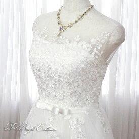 再入荷 肩付きウエディングドレス 5号7号9号11号(オフホワイト) 刺繍 演奏会用ドレス ウエディング ロング プリンセスライン 発表会 花柄プリントが可愛い 背中編み上 げ 当て布 結婚式やフォトウェディング 披露宴にも 8843