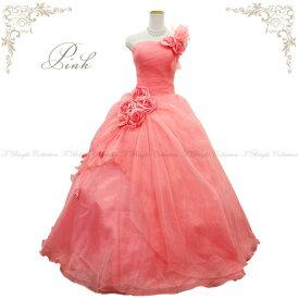【在庫処分価格】大きいサイズ カラードレス 17号19号 ピンク 色ドレス プリンセスライン 背中編み上げ胸元シャーリング 片側肩紐付きで安心 お花コサージュのふんわりオーガンジー 色・サイズ限定 51436cp