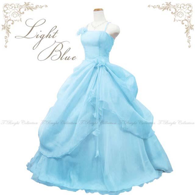 カラードレス ウエディング ロング プリンセスライン 7−9号★お花コサージュがアクセント!ライトブルー背中ゴム編み上げでジャストフィットなロングドレス★ 結婚式や発表会にも♪ 大人 シンプル 1112