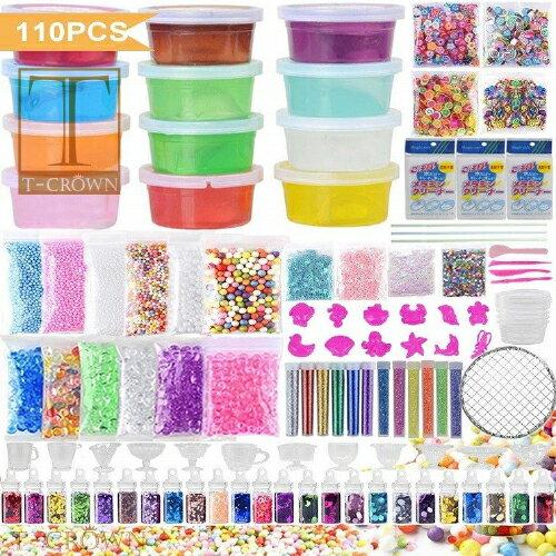 【Jiudam・110個】 slime kit【新品・未開封】【スライム・キット】簡単で便利!! 110個の異なる付属品が含まれています。