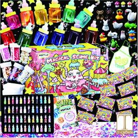 スライムキット 【マジカル・カラフルボトル】slime kit フリースライム おもちゃ 手作りツール ストレス解消 ふわふわクリスタル粘土