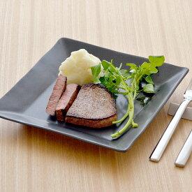 パスタ皿 黒マット スクエアプレート M(inBASIC BLACK)大皿 角皿 和食器 皿 プレート カフェ食器 四角いお皿 黒い食器 パスタ皿 デザート皿 サラダ皿 パン皿 おしゃれ シンプル ホテル食器