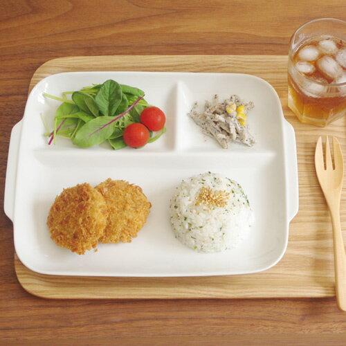 ランチプレート(ホワイト)フラットタイプ ランチプレート/白い食器/カフェ食器/仕切りプレート/アウトレット食器/仕切り皿/キッズ食器/キッズ/子供食器