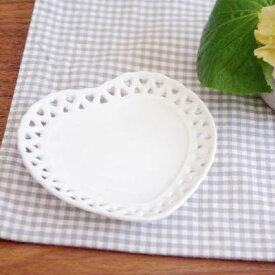 ハート×ハート プチディッシュ10.4cm小皿/取り皿/お菓子皿/白いお皿/ナチュラル/ポーセリンアート/インテリア雑貨/おしゃれ/カフェ風/おもてなし/かわいい
