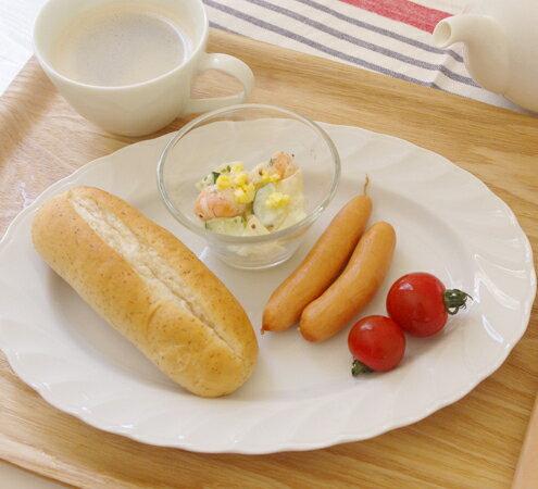 (キャロル)10incオーバルフリルプラター (アウトレット)   白い食器/楕円皿/プレート/おしゃれな食器/ホテル食器