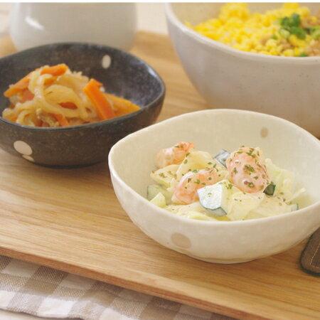 和食器 水玉 三角3.5寸小鉢 (ドットモノトーンシリーズ) 小鉢/和の小鉢/取り皿/黒い食器/白い食器/ボウル/和食器