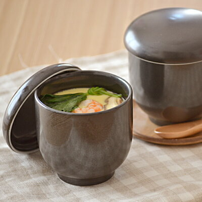 茶碗蒸し(黒マット) EASTオリジナル (アウトレット込み) 茶碗蒸し 器/シンプル茶碗蒸し/蒸し碗/ちゃわんむし/ナチュラル茶碗蒸し/美濃焼/和食器/蓋物