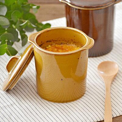 茶碗蒸し 和カフェスタイル ジャポネココット蓋付(キャラメル)(アウトレット込み)茶碗蒸し 器/茶碗むし/蒸し碗/洋風茶碗蒸し/スープカップ/オーブンウェア/デザートカップ/美濃焼/和食器/蓋物