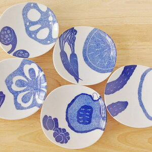 やさいの5寸皿中皿 ケーキ皿 取り皿 副菜皿 サラダ皿 和の中皿 お皿 和食器 プレート お皿 染付 16cm おしゃれ カフェ風 かわいい 和柄 和風