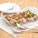 ガラス 耳付きプラター(30cm)大皿 強化ガラス ガラストレイ 角皿 パーティー食器 ガラス食器 調理器具 カフェ風 おしゃれ カフェ食器