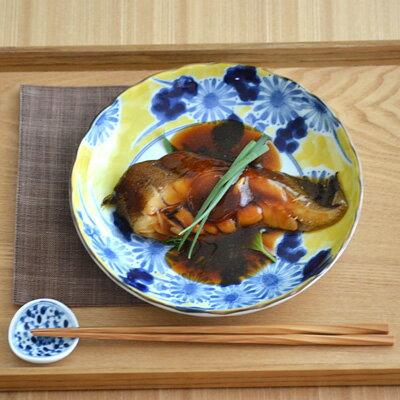 藍三昧 (黄地草花) 6寸皿 (アウトレット込み)      和食器/プレート/お皿/和風/盛り皿/花柄/中皿