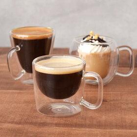 デミタスコーヒーカップダブルウォール二重構造耐熱ガラスマグカップ/カップ/コップ/マグ/コーヒーカップ/デミタス/デミタスコーヒー/エスプレッソ/ガラス/ガラス製/耐熱ガラス製/食器/洋食器/カフェ/カフェ食器/カフェ風/cafe風/おしゃれ