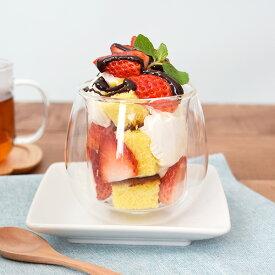 ダブルウォール グラス 220cc 二重構造 耐熱ガラスカップ ガラスカップ コーヒーカップ デザートカップ ヨーグルトカップ アイスカップ アイスクリームカップ ガラス ガラス食器 洋食器 カフェ風 おしゃれ シンプル