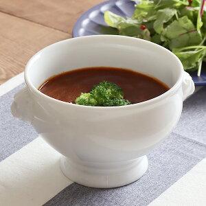 高品質!白磁 ライオントリュフスープ(L)オーブン使用可能スープボウル 白い食器 洋食器 トリュフボール 高級食器 パイ包み ホテル食器 ポットパイ パーティー
