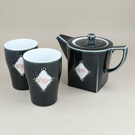 ティーセット 2人用 バラ一珍急須 ポット 茶器 マルチカップ フリーカップ 食器 食器セット おしゃれ 洋食器