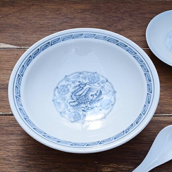 中華丸高台皿 藍鳥 22cm中華皿/高台皿/前菜皿/盛皿/炒飯皿