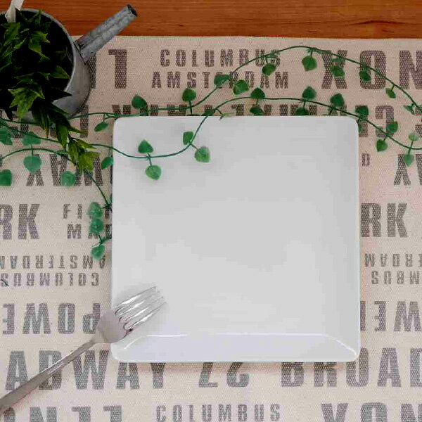 角皿 スクエアプレート 正角20cm ホワイト (アウトレット)プレート/大皿/角皿/ワンプレート/リムプレート/食器 白/美濃焼き/おしゃれ/日本製/安心